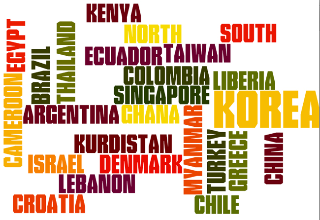 Wordle showing graduate student inernational involvement