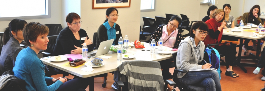 international students at a meeting