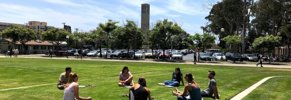 TEP Students build relationships in small group course activities in front of Storke tower.