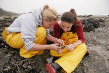 Mentor and student collecting samples at Campus Point