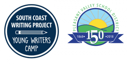 logos of Young Writers Camp and Pleasant Valley School District
