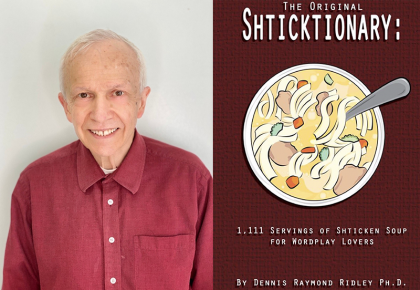 Dennis Ridley and the cover of his book Shticktionary