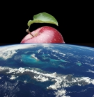 an apple rising up above the Earth from space