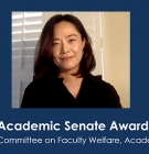 Jin Sook Lee on Zoom slide that says Academic Senate Awards