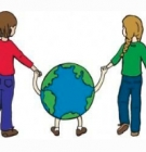 drawing of children walking the Earth