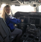 Christine Hirst Bernhardt in the cockpit of SOFIA