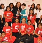 Danielle Harlow and Diana Arya with Girls Inc. girls