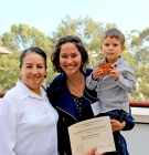 Karina Ochoa Manzo with her mother and son