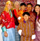 Peggy Lamb with a group while visiting Bhutan