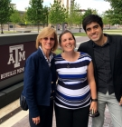 Heidi Zezter meeting with CCSP master's degree alums Ashley Smith and Oscar Widales, who are both currently in the Texas A&M school psychology doctoral program.